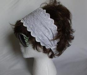 White Eyelet Lace fabric women's headband