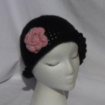 Women's Black ruffle cloche with pink rose